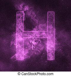 Letter H alphabet symbol. Space Letter, Night Sky Letter.