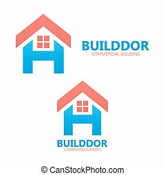 Letter H and real estate logo template