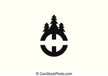 letter H and wood cutter logo Designs Inspiration Isolated on White Background
