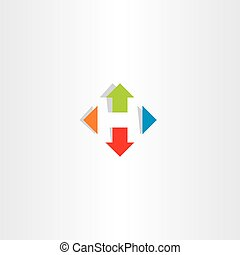 letter h arrows icon vector symbol logo