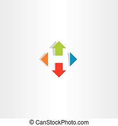 letter h arrows icon vector symbol logo