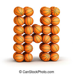 Letter H from basketball balls isolated on white background