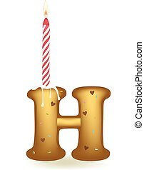 Letter H Birthday Candle - Letter H birthday candle in cake...