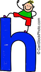letter H boy - happy little boy climbing over giant letter H...