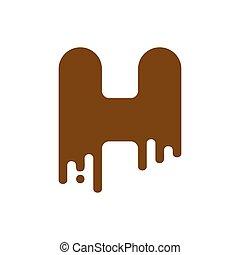 Letter H Chocolate font. sweetness alphabet. Liquid lettering. Sweet viscous ABC sign