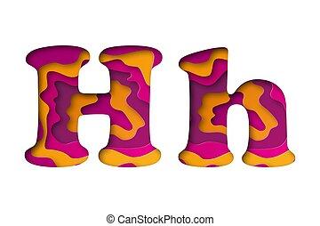 Letter H, cut out paper. Vector illustration.