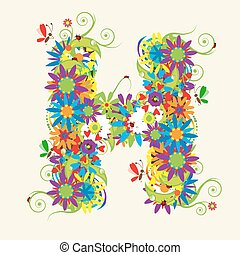 Letter H, floral design. See also letters in my gallery