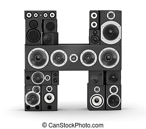 Letter H from black hi-fi speakers sound systems