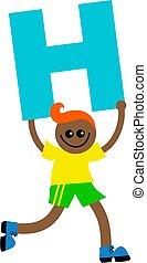 letter H kid - Happy little boy holding letter H.