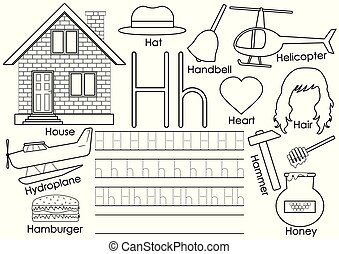 Letter H. Learning English alphabet with pictures. Writing practice and coloring book. Vector illustration.