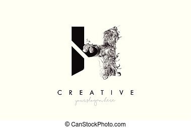 Letter H Logo Design Icon with Artistic Grunge Texture In Black and White