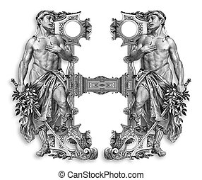 Luxuriously illustrated old capital letter H with man.