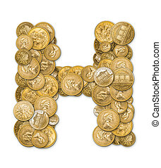 Letter H made from gold coins money isolated on white background