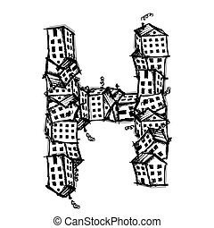 Letter H made from houses, vector alphabet design