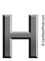 Metallic letter H isolated on white background