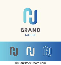 Letter H Negative Space Logo template element symbol in sky blue color