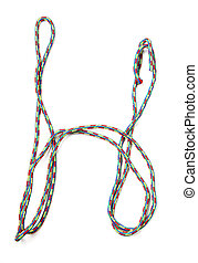 Letter h of cotton rope
