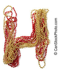 Letter h of red and gold beads