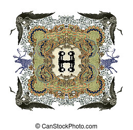 The Victorian capital letter H with four owls and four deer.