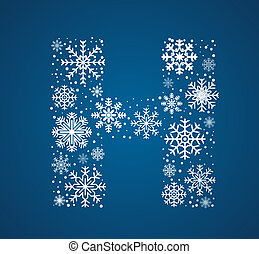 Letter H, vector font frosty snowflakes