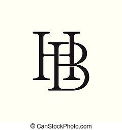letter hb linked line logo vector