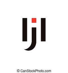 letter hj geometric negative space logo vector