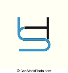 letter hs linked line logo vector