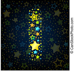 Letter I cartoon kid style vector font with colored stars