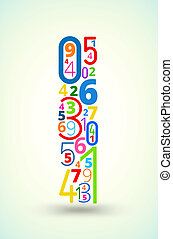 Letter I, colored vector font from numbers