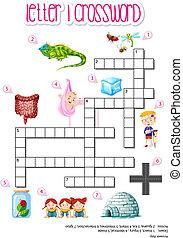 Letter i cross word illustration