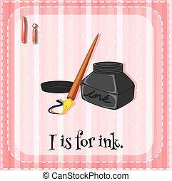 Letter I - Flashcard letter I is for ink
