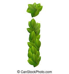 Letter I of green leaves alphabet
