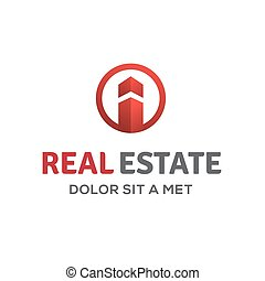 Letter I real estate sign logo icon design template with house a