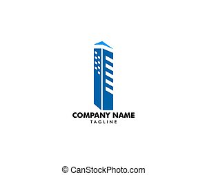 Letter I With Building For Construction Company Logo
