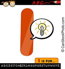 letter i with idea sign cartoon illustration