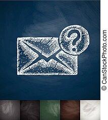 letter icon. Hand drawn vector illustration
