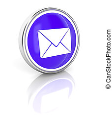 Letter icon on glossy blue round button