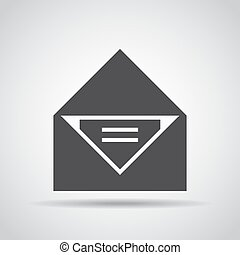 Letter icon with shadow on a gray background. Vector illustration