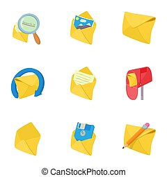 Letter icons set, cartoon style