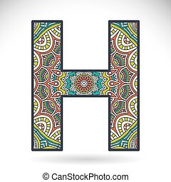 Letter with ornament in ethnic style. Hand draw