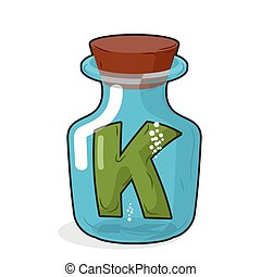 Letter in a laboratory bottle. K In a magic bottle with a wooden lid. Research letters. Vector illustration