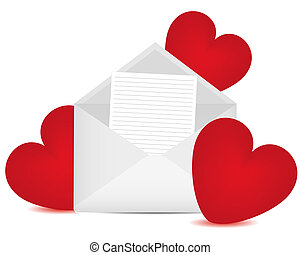 Letter in an envelope and red heart