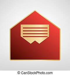 Letter in an envelope sign illustration. Vector. Red icon on gold sticker at light gray background.