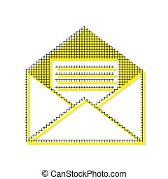 Letter in an envelope sign illustration. Vector. Yellow icon wit