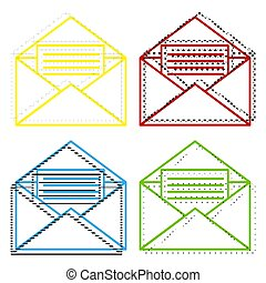 Letter in an envelope sign illustration. Vector. Yellow, red, bl