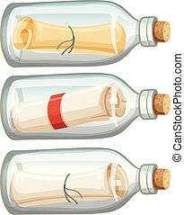 Letter in Bottle on white Background
