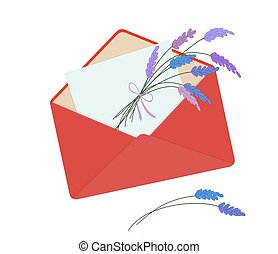 Letter in red envelope with bouquet of lavender.