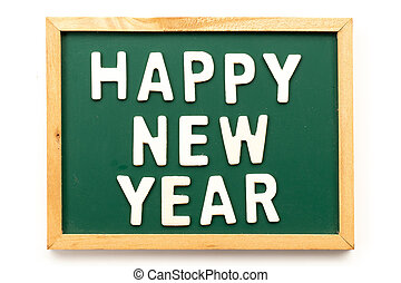 Letter in word happy new year on blackboard in white background