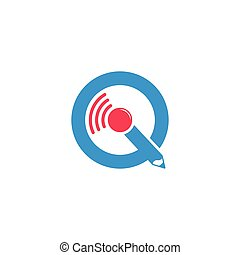 letter iq online education symbol vector