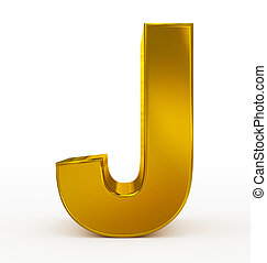 letter J 3d golden isolated on white